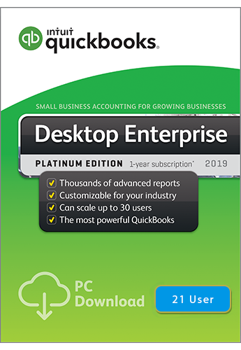 2019 QuickBooks Enterprise Platinum 21 User