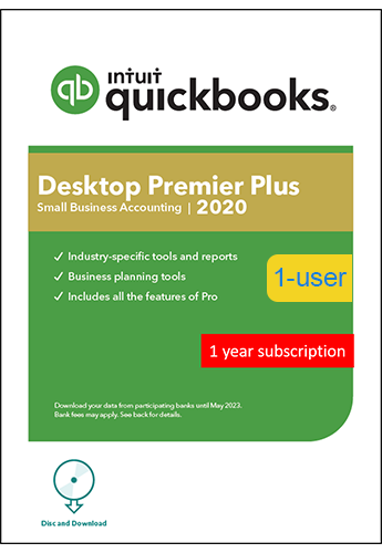 2020 Intuit QuickBooks Desktop PREMIER PLUS Version 1 User